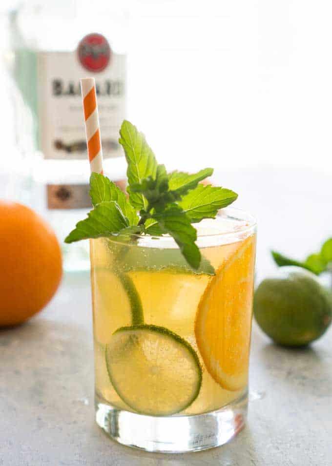 orange mojito mint rum cocktail