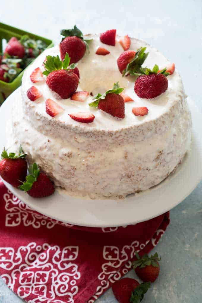 strawberry stuffed angel food cake