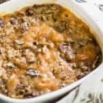 sweet potato casserole in white baking dish