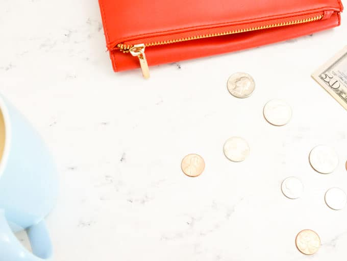 a wallet with coins scattered about
