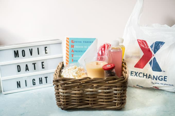 A basket full of food and gifts