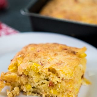 A plate with Cornbread
