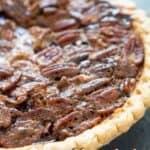 close up of chocolate pecan pie