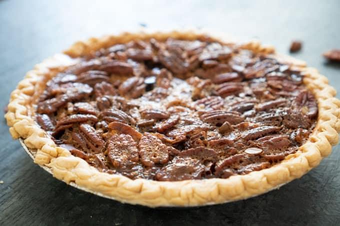 Chocolate Pecan Pie on slate counter