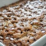A close up of a pan of food, with Banana and Chocolate