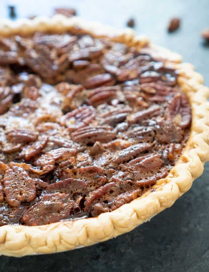 Chocolate Pecan Pie  on salte countertop