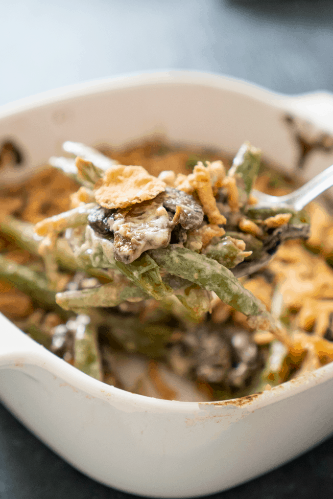 Best Green Bean Casserole from scratch in spoon