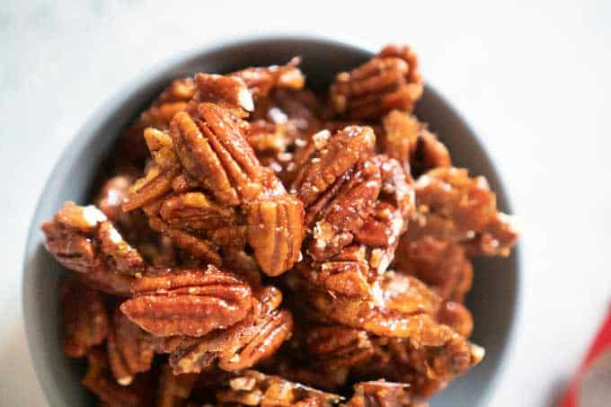 Spicy Candied Pecans in bowl