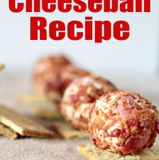 close up of mini cheeseballs on crackers with text reading cheeseball recipe