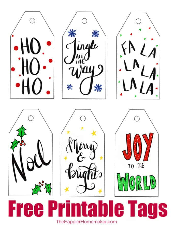graphic about Gift Tags Printable identified as Free of charge Printable Xmas Present Tags The Happier Homemaker
