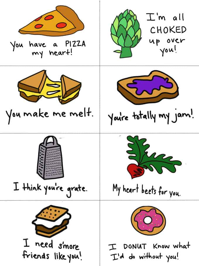 funny hand-drawn pun valentines day notes printable