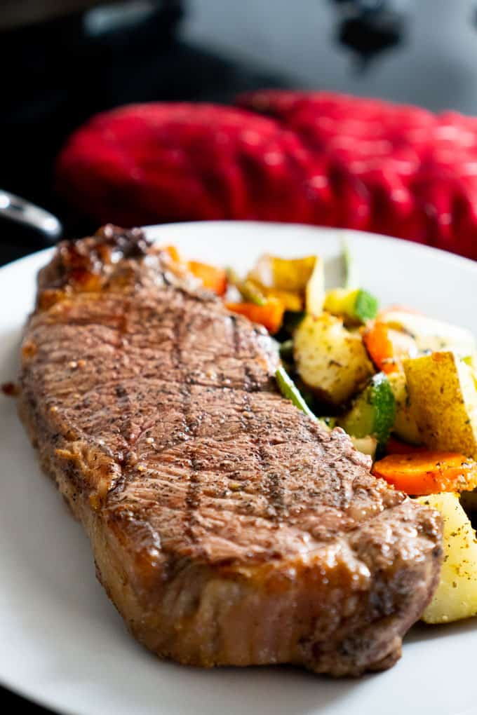 steakhouse steak with roasted vegetables