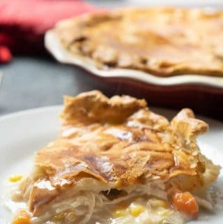 homemade chicken pot pie on white dish