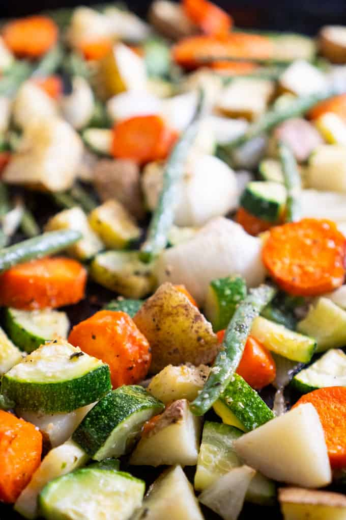 oven roasted vegetables on baking pan