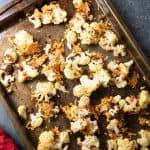 overhead view of parmesan roasted cauliflower on baking sheet