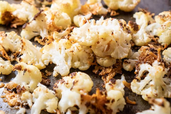 close up of parmesan roasted cauliflower
