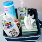 teacher stay well gift basket with hand sanitizer, clorox wipes, tissues and coffee mug