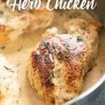 creamy garlic herb chicken in pan