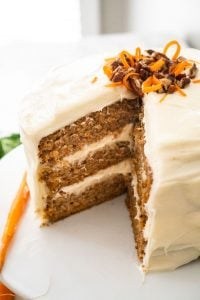carrot cake with cream cheese frosting three layers