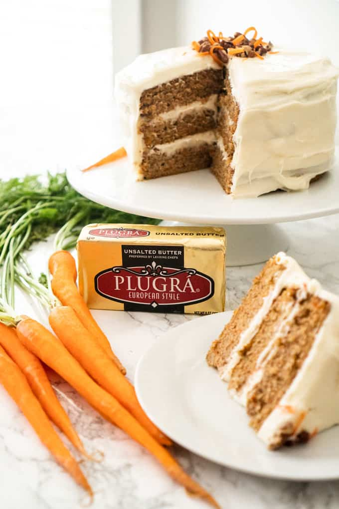 carrot cake with carrots and butter