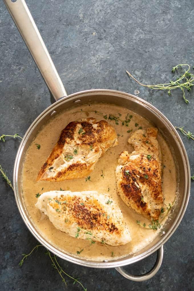 Chicken breast with garlic herb cream sauce