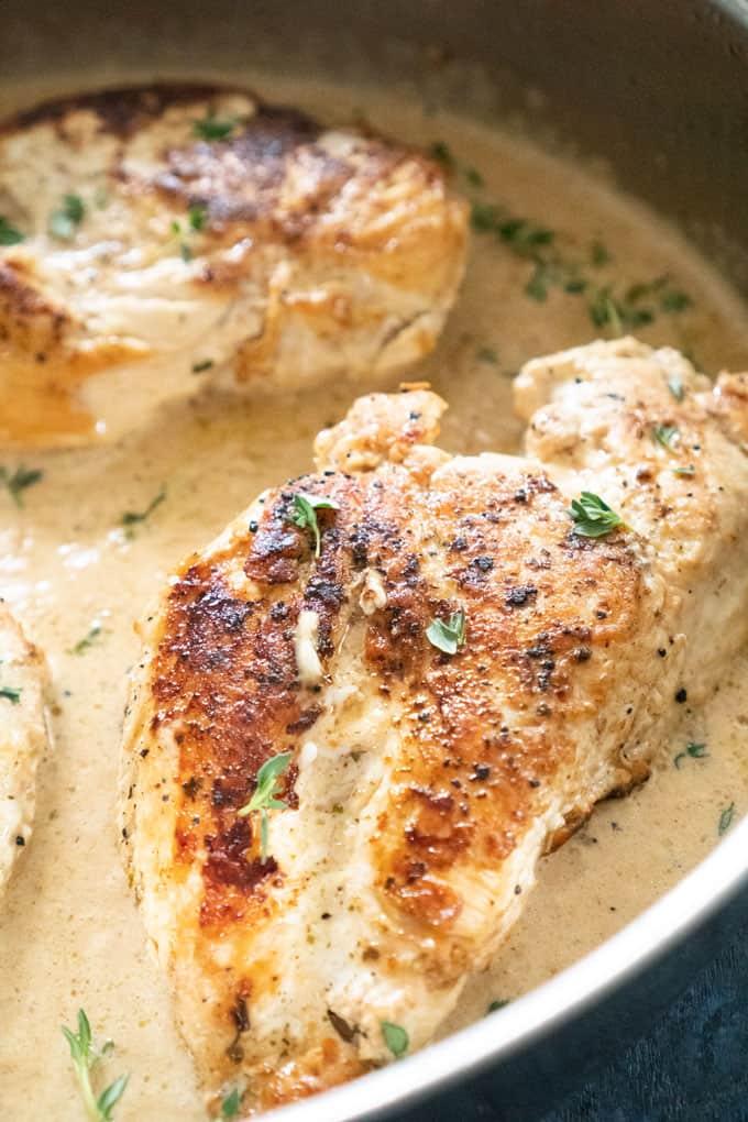 chicken breast with garlic herb sauce