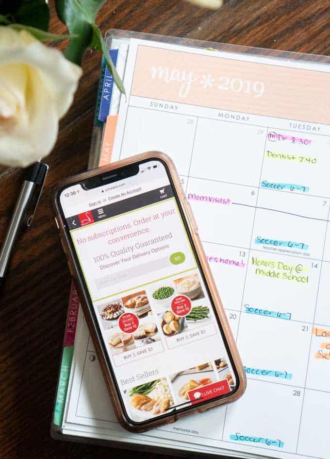 schwans website on phone with calendar