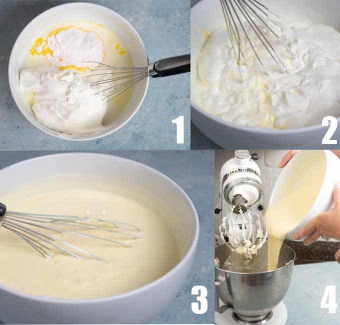 collage of step by step photos for mixing pudding for dirt cake