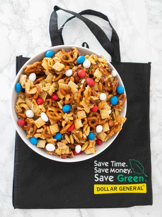 sweet and salty snack mix with dollar general bag