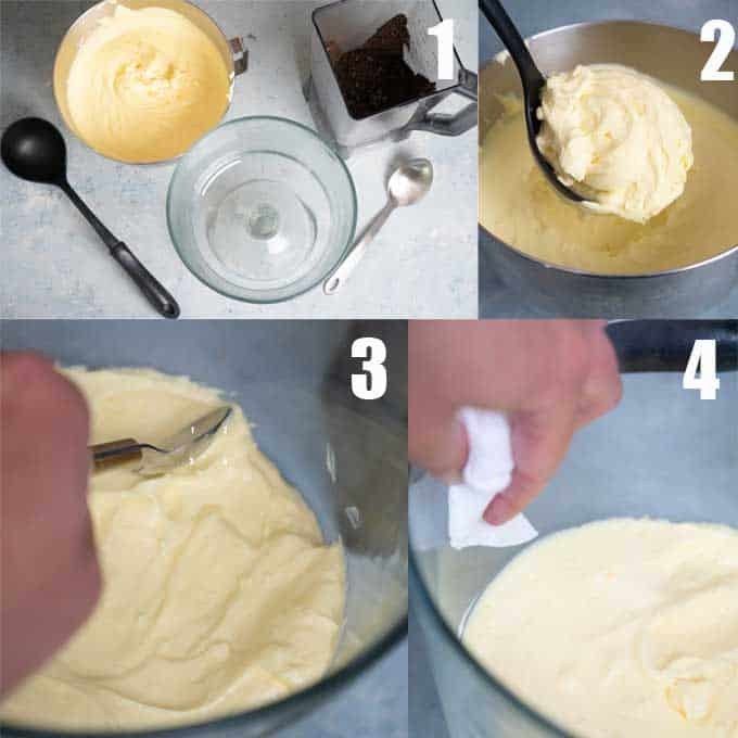 step by step tutorial for spreading pudding mix in a trifle dish for dirt cake