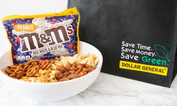 salty sweet snack mix with M&Ms bag and dollar general shopping bag