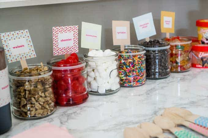 ice cream sundae toppings in glass jars with printable labels