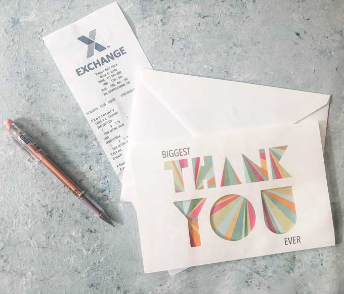thank you card and AAFES reciept