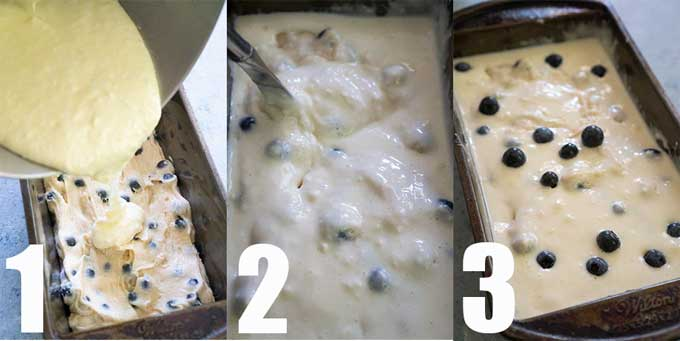 step by step tutorial for layering blueberry bread batter in loaf pan