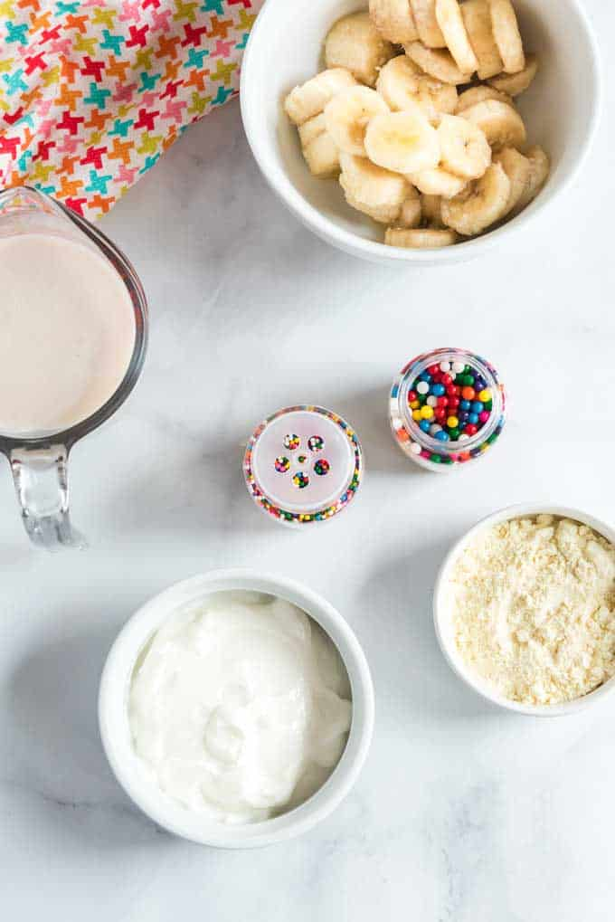 ingredients for healthy cake batter smoothie