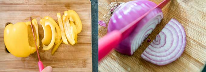 chopping bell pepper and red onion on cutting board with pink knife