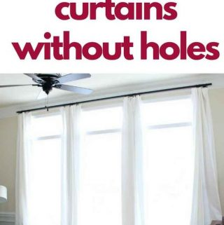 long white curtains hanging from command hooks