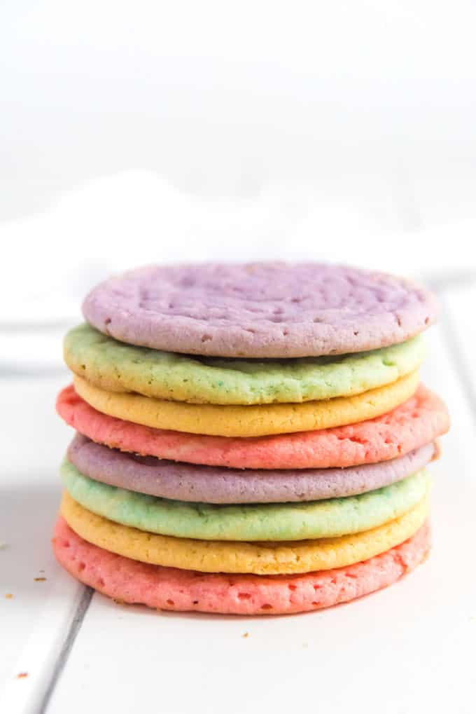 stack of purple greek pink and orange kool aid cookies