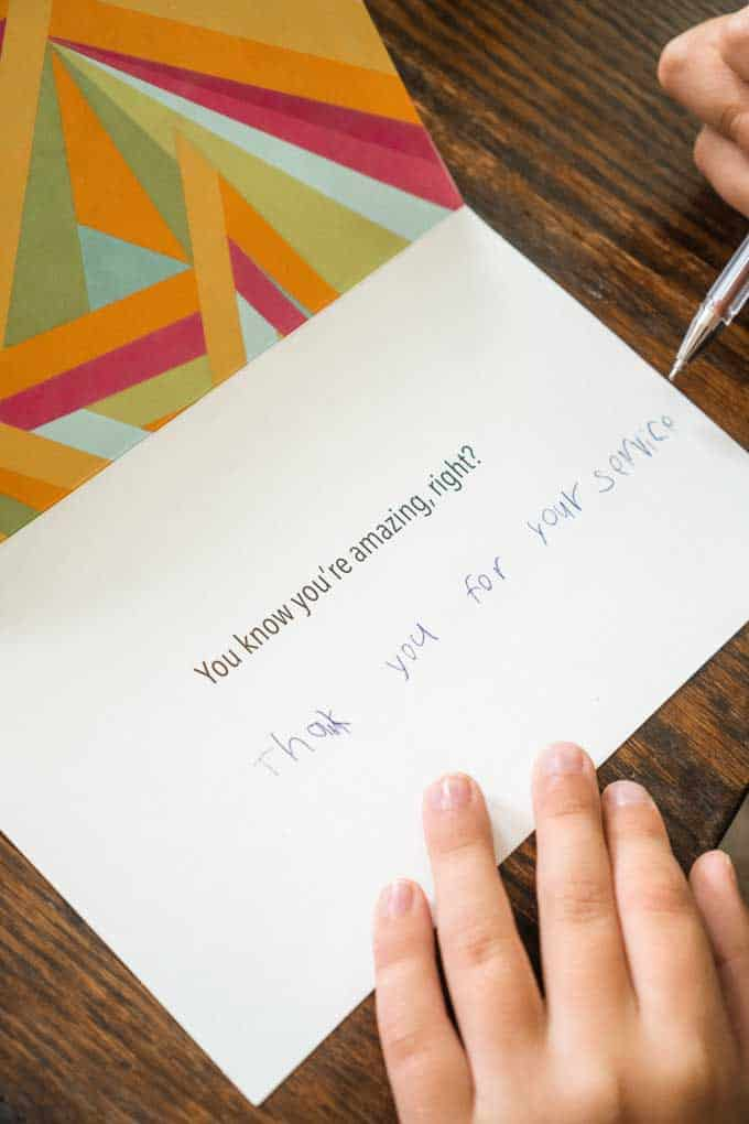 thank you card with child's handwriting saying thank you for your service