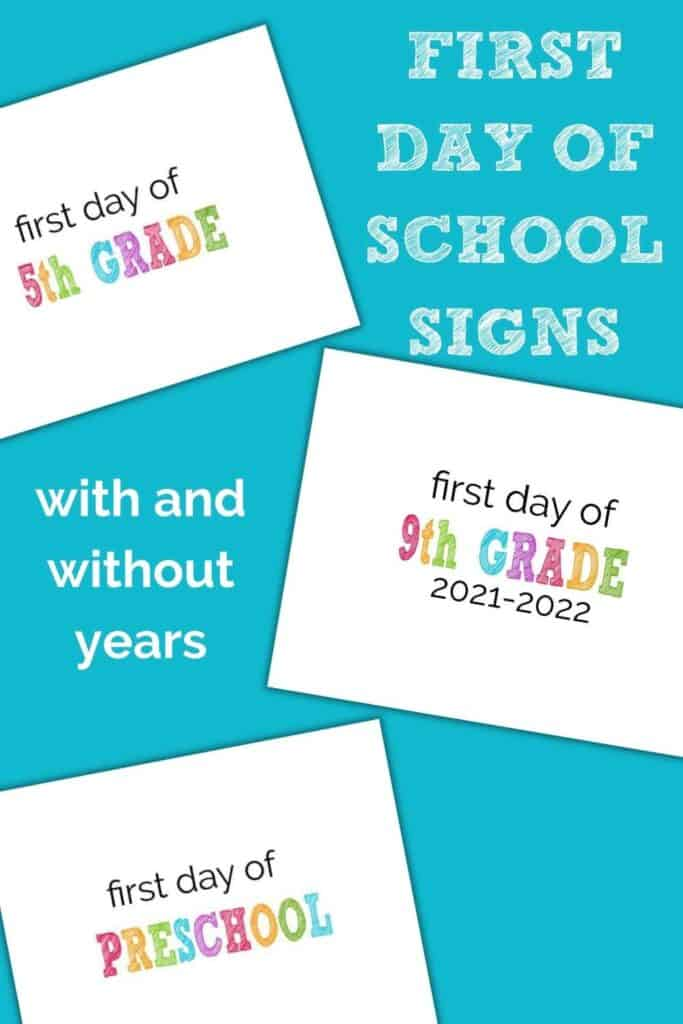 collage of first day of school signs