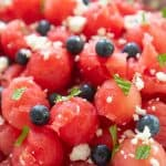 watermelon salad with feta blueberries mint