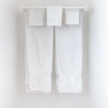 hanging white towels