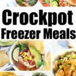 collage of crockpot freezer meals