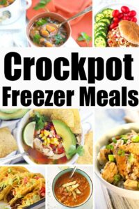 collage of crockpot freezer meals
