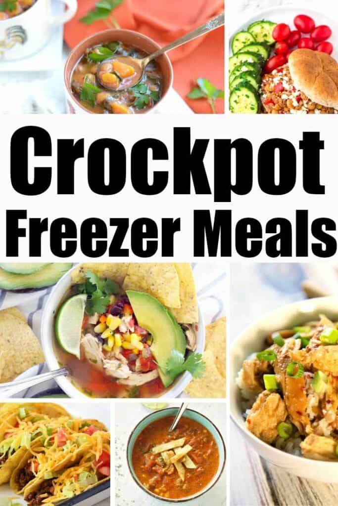 collage of meals with text reading crockpot freezer meals