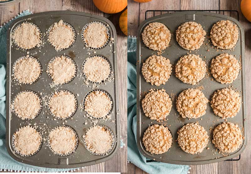 best pumpkin muffin with crumble topping before and after baking in muffin tin