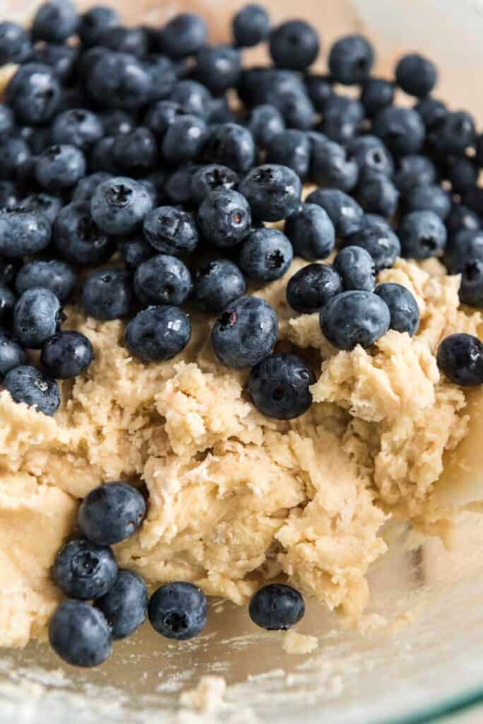 coffee cake batter with fresh blueberries