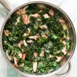 southern collard greens in large saucepan