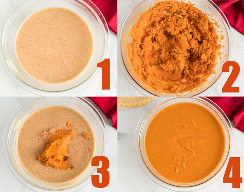 making sweet potato pie from raw sweet potatoes