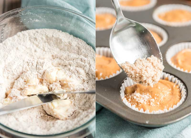 adding crumble topping to best pumpkin muffins before baking